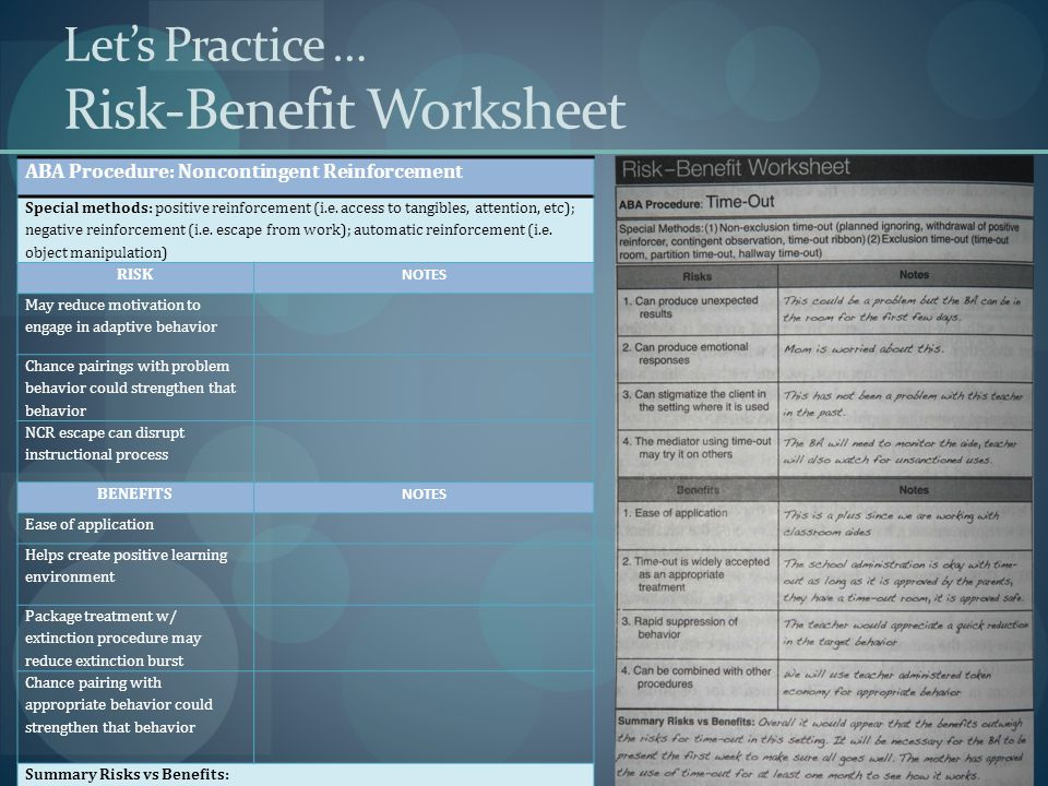 Let's Practice … Risk-Benefit Worksheet
