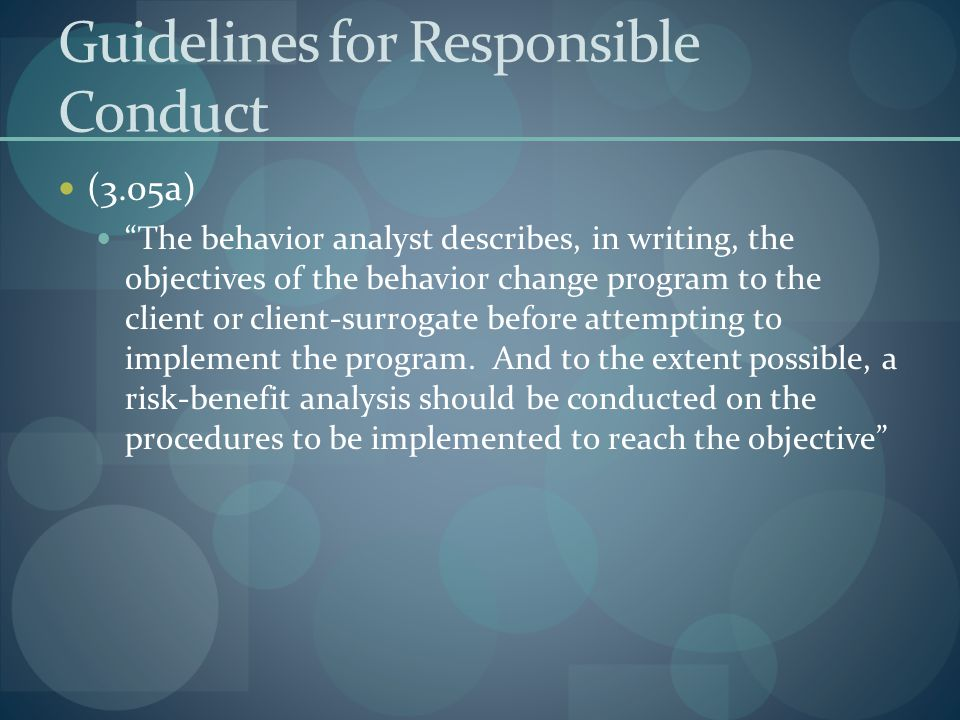 Guidelines for Responsible Conduct