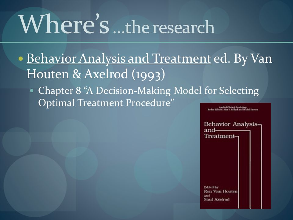 Where's …the research Behavior Analysis and Treatment ed. By Van Houten & Axelrod (1993)