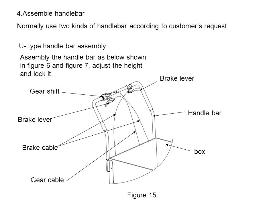 4.Assemble handlebar Normally use two kinds of handlebar according to customer's request. U- type handle bar assembly.