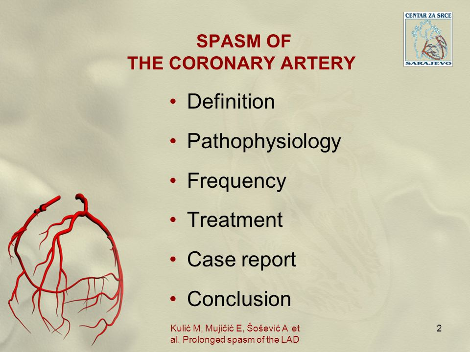 SPASM OF THE CORONARY ARTERY