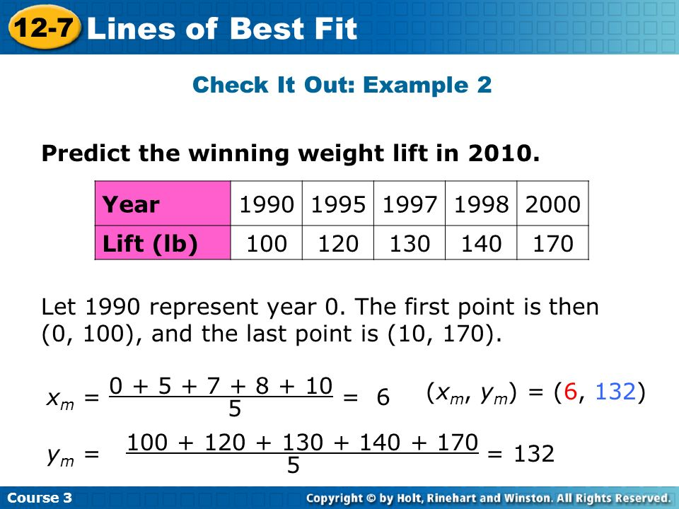 Lines of Best Fit 12-7 Check It Out: Example 2