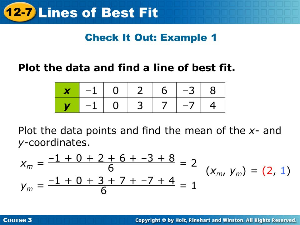 Lines of Best Fit 12-7 Check It Out: Example 1
