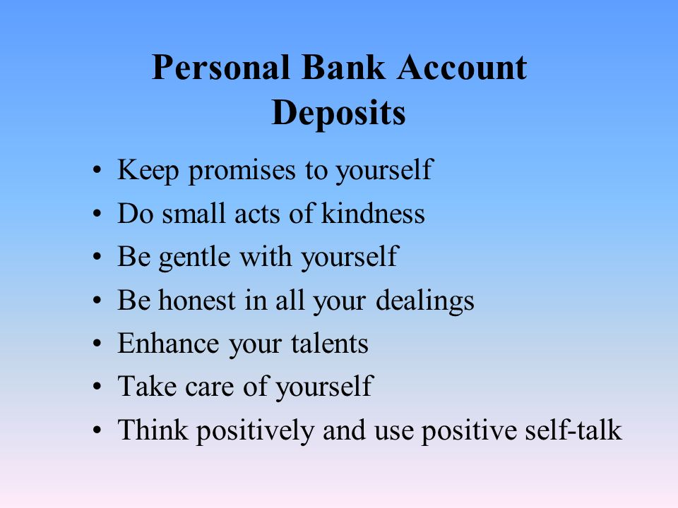 Personal Bank Account Deposits