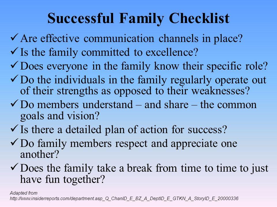 Successful Family Checklist