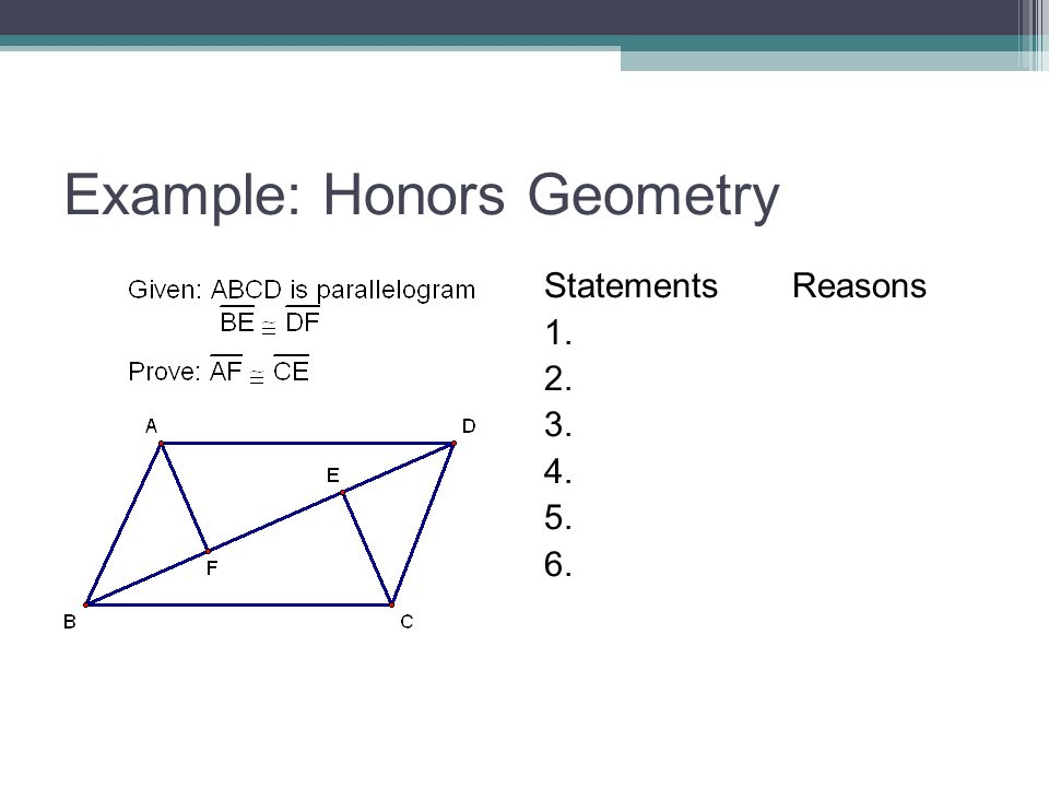 Example: Honors Geometry