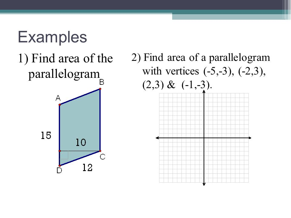 Examples 1) Find area of the parallelogram
