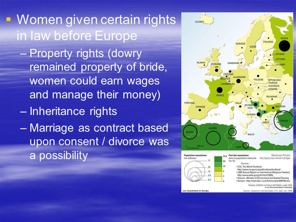 Women given certain rights in law before Europe
