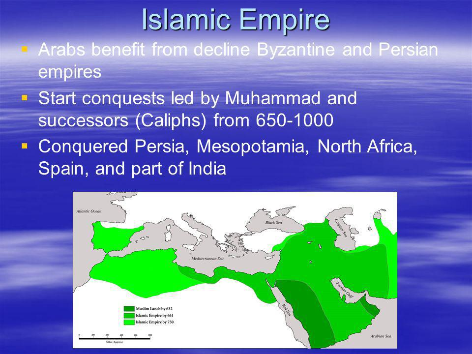 Islamic Empire Arabs benefit from decline Byzantine and Persian empires. Start conquests led by Muhammad and successors (Caliphs) from 650-1000.