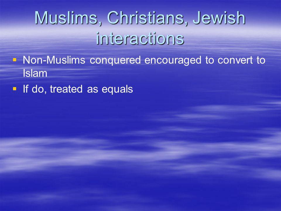 Muslims, Christians, Jewish interactions