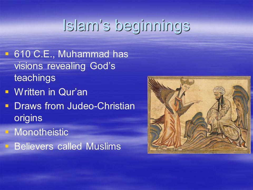 Islam's beginnings 610 C.E., Muhammad has visions revealing God's teachings. Written in Qur'an. Draws from Judeo-Christian origins.
