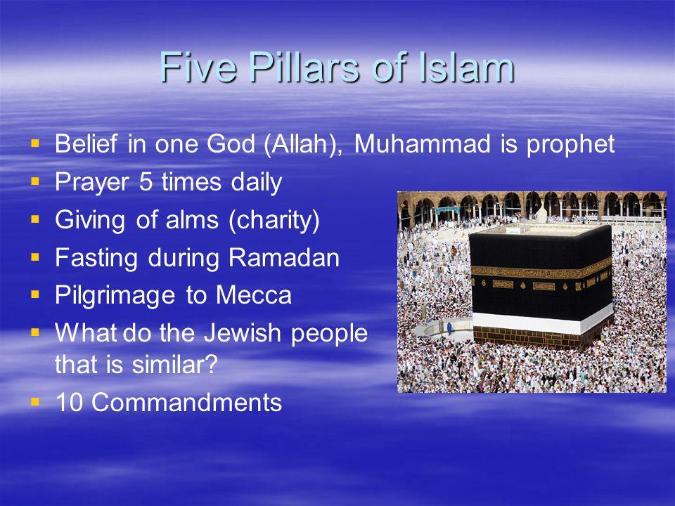 Five Pillars of Islam Belief in one God (Allah), Muhammad is prophet