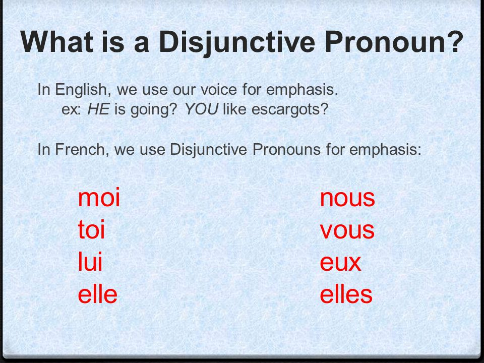 What is a Disjunctive Pronoun