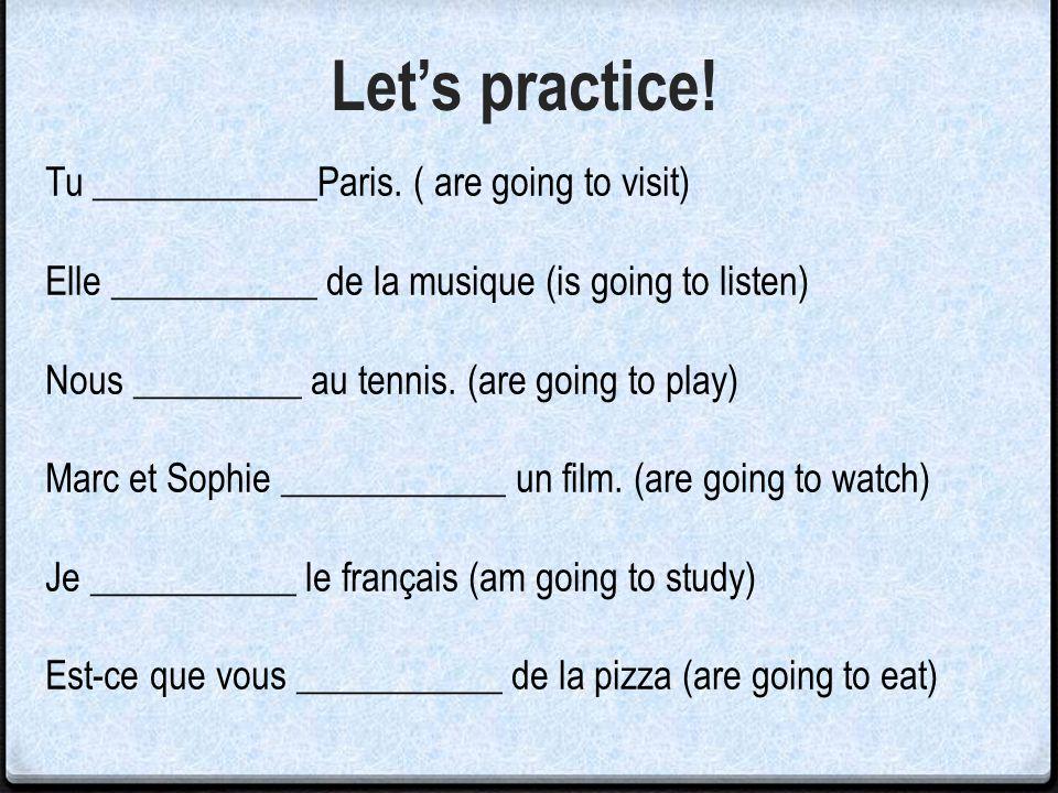Let's practice! Tu ____________Paris. ( are going to visit)
