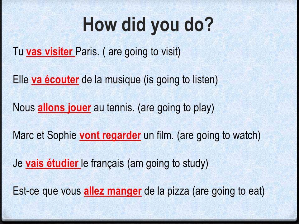 How did you do Tu vas visiter Paris. ( are going to visit)