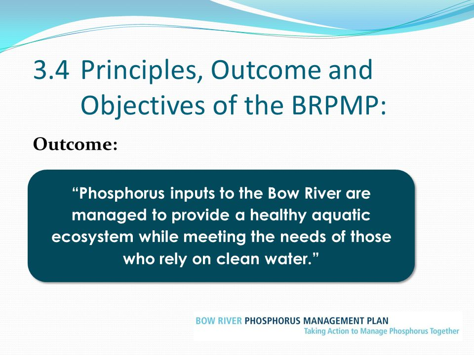 3.4 Principles, Outcome and Objectives of the BRPMP: Outcome: