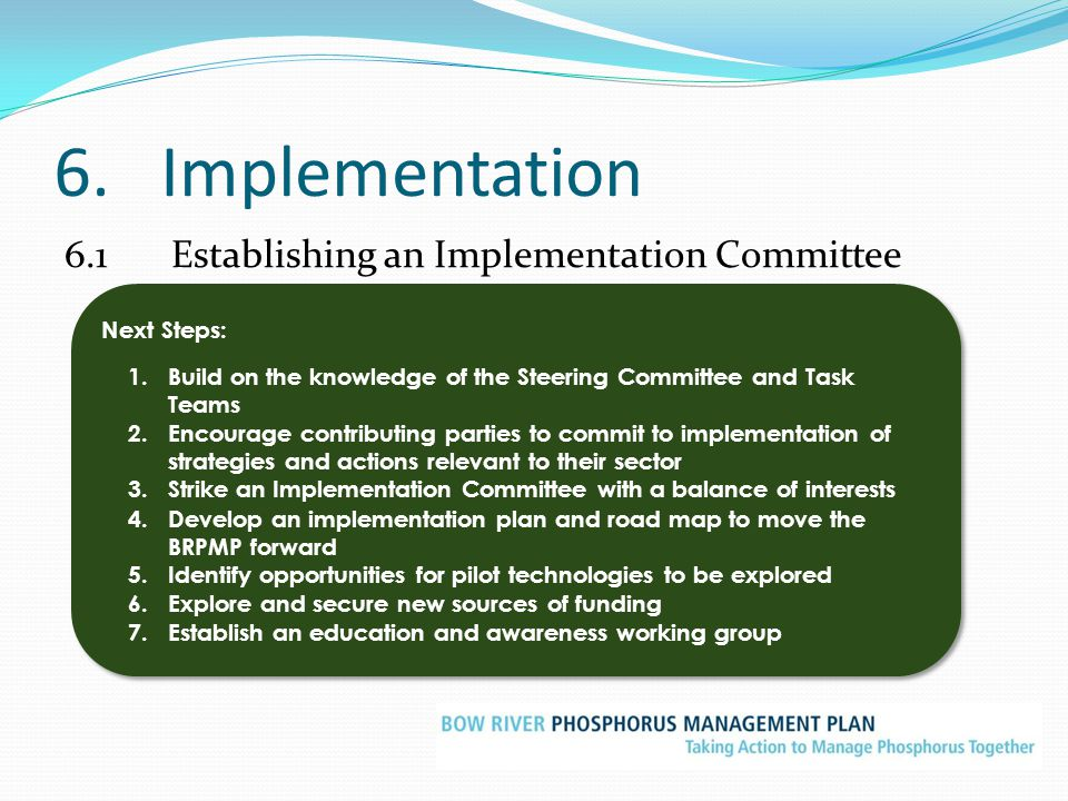 6. Implementation 6.1 Establishing an Implementation Committee