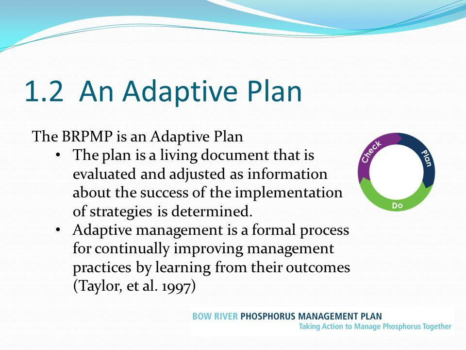 1.2 An Adaptive Plan The BRPMP is an Adaptive Plan