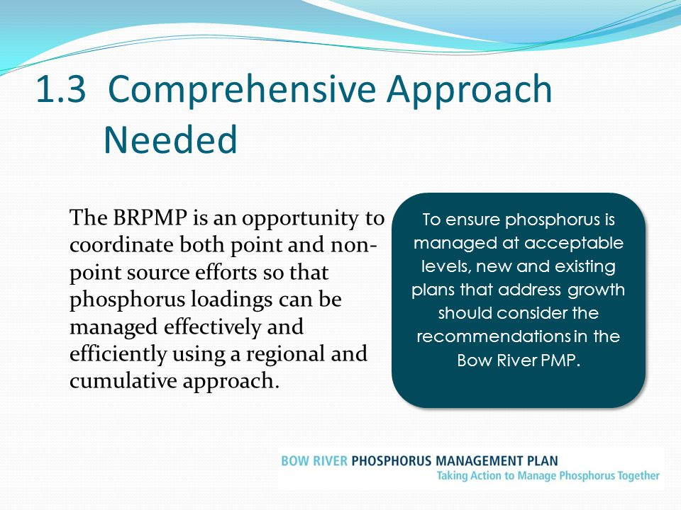 1.3 Comprehensive Approach Needed