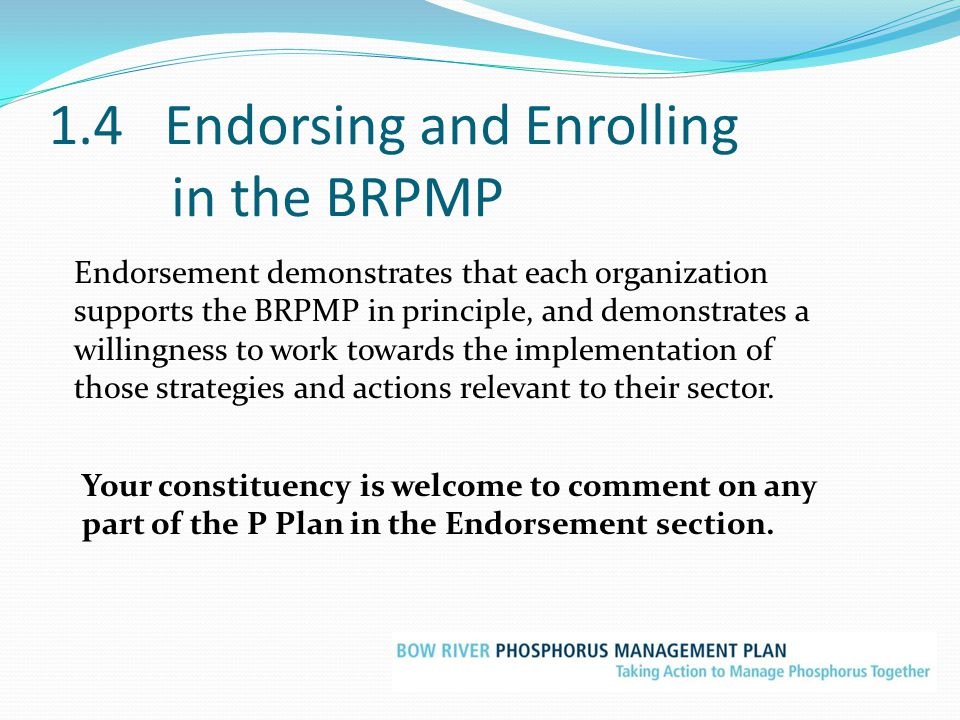 1.4 Endorsing and Enrolling in the BRPMP