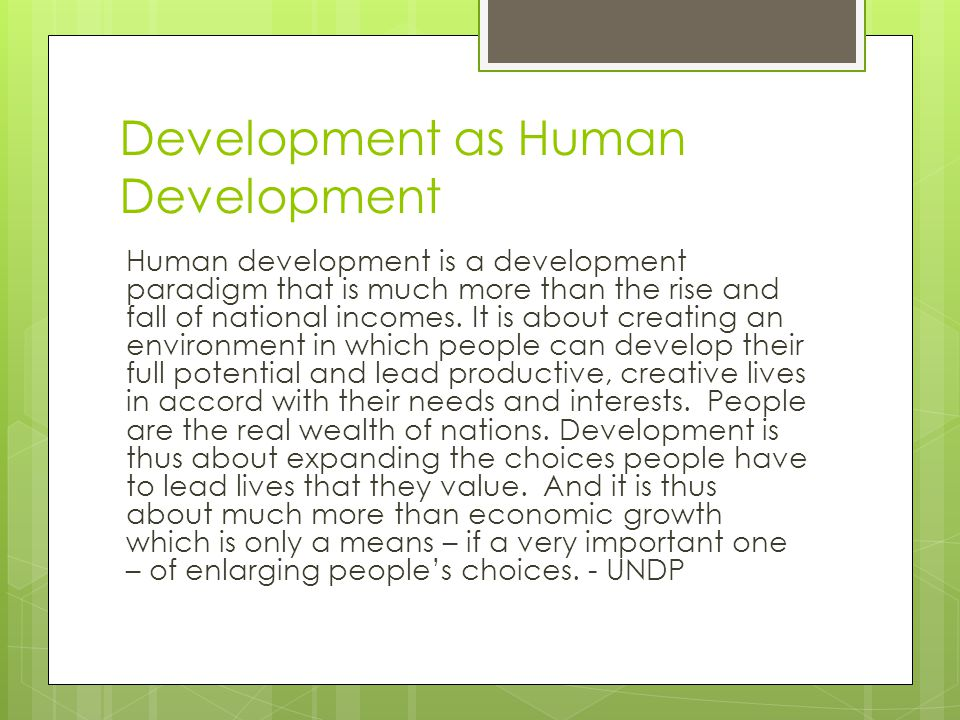 Development as Human Development