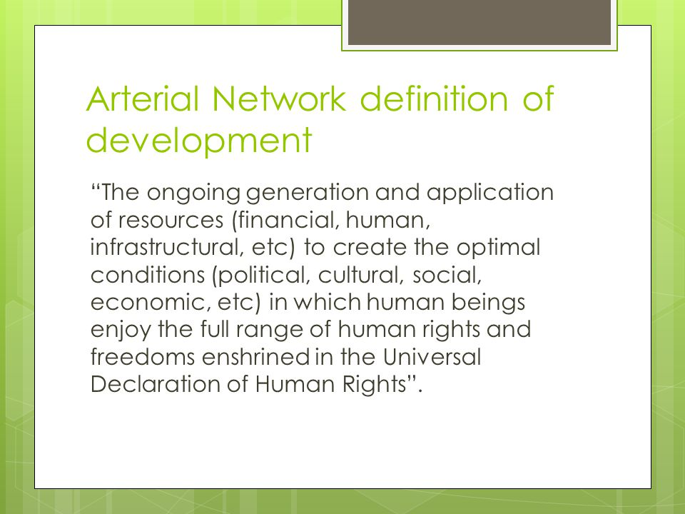 Arterial Network definition of development