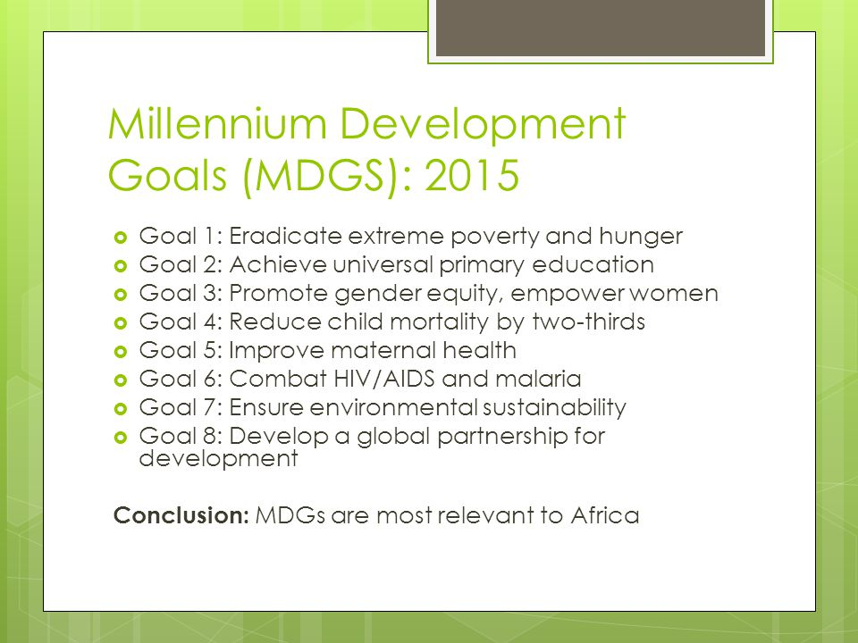 Millennium Development Goals (MDGS): 2015