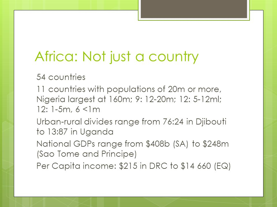 Africa: Not just a country
