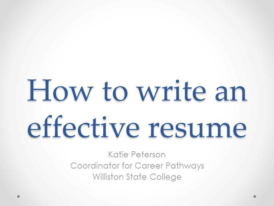 how to write effective resume ppt 28 images