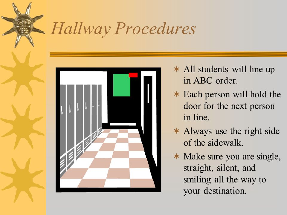 Hallway Procedures All students will line up in ABC order.