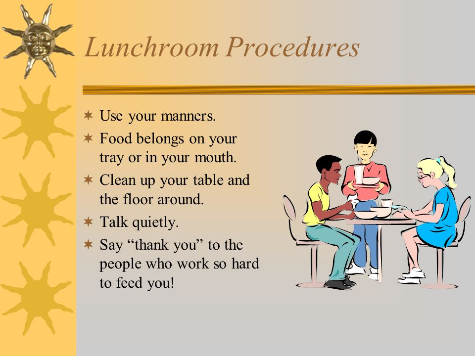 Lunchroom Procedures Use your manners.