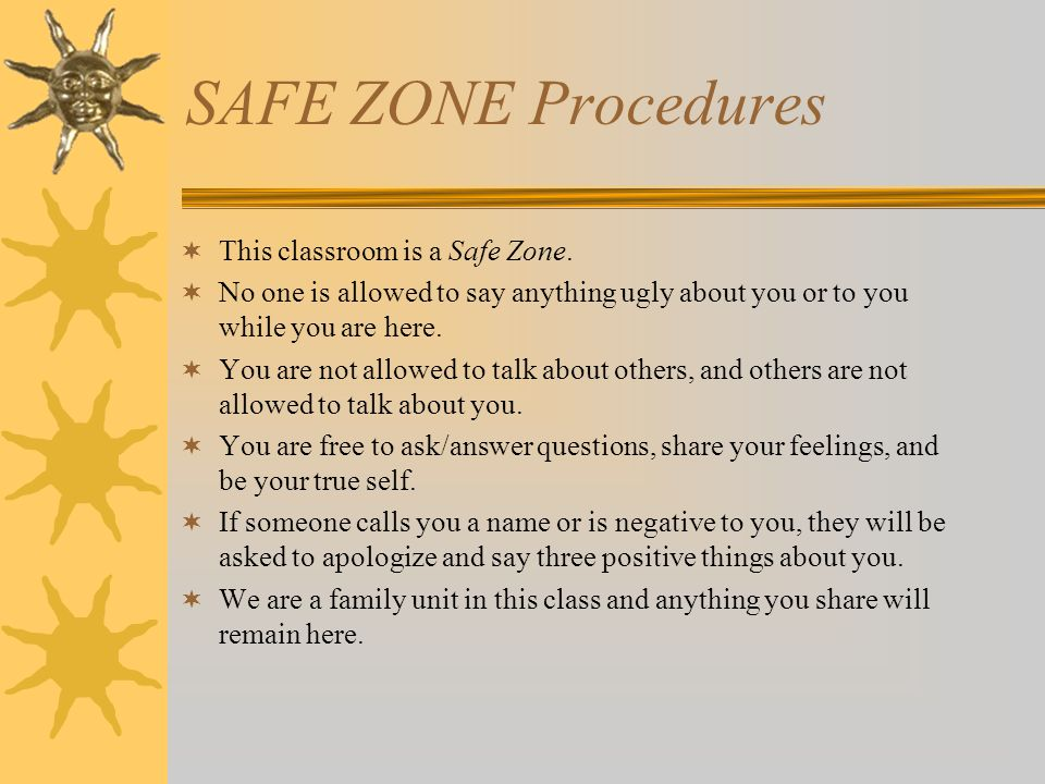 SAFE ZONE Procedures This classroom is a Safe Zone.