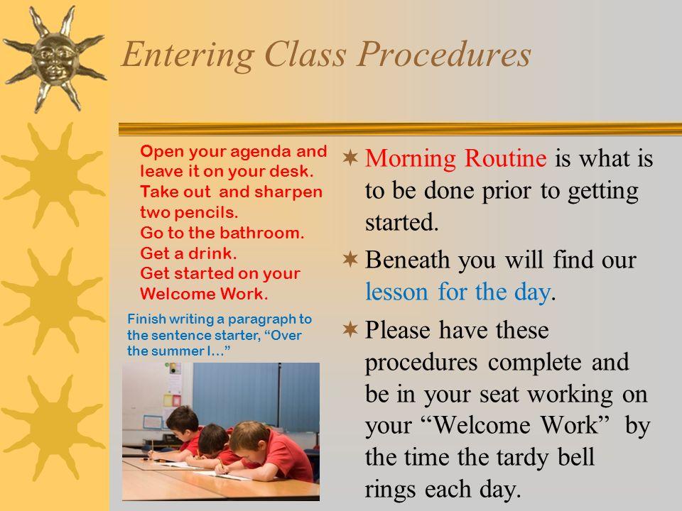 Entering Class Procedures