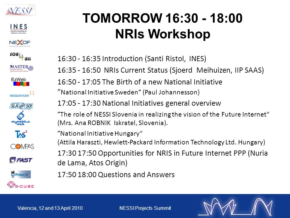 TOMORROW 16:30 - 18:00 NRIs Workshop