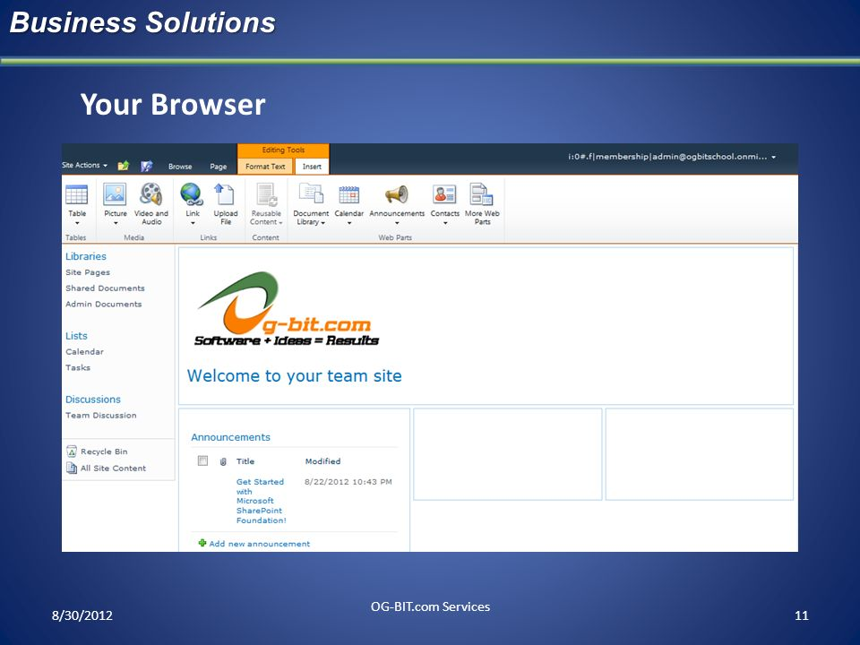head Business Solutions Your Browser 8/30/2012 OG-BIT.com Services ff