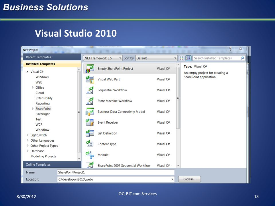 Visual Studio 2010 Business Solutions head OG-BIT.com Services