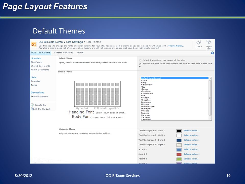 Page Layout Features Default Themes head 8/30/2012 OG-BIT.com Services