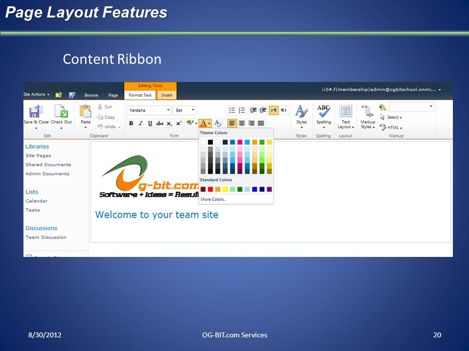 Page Layout Features Content Ribbon head 8/30/2012 OG-BIT.com Services
