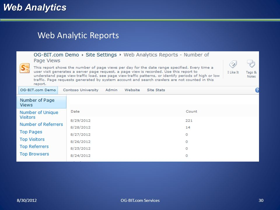 Web Analytics Web Analytic Reports head 8/30/2012 OG-BIT.com Services