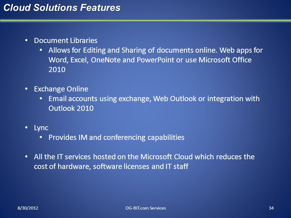 Cloud Solutions Features