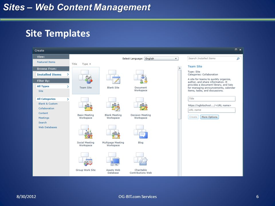 Site Templates Sites – Web Content Management head 8/30/2012