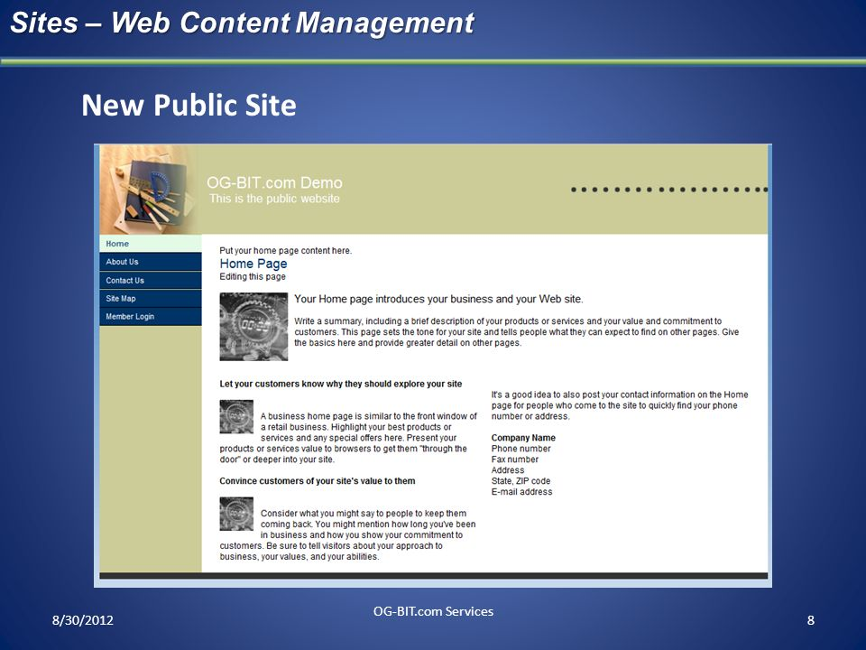 New Public Site Sites – Web Content Management head