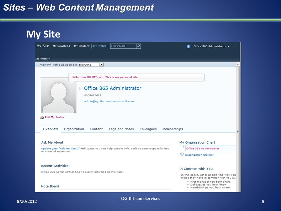 My Site Sites – Web Content Management head OG-BIT.com Services