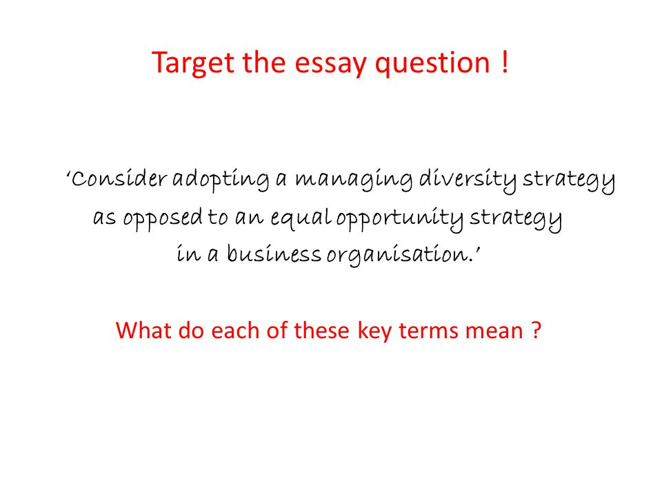 Target the essay question !