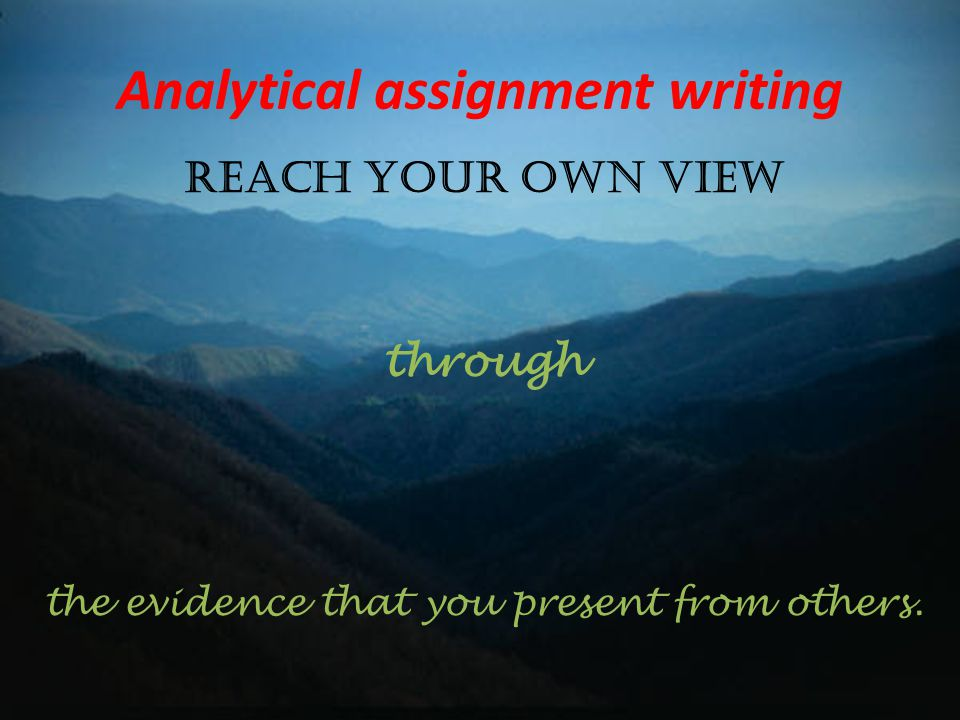Analytical assignment writing