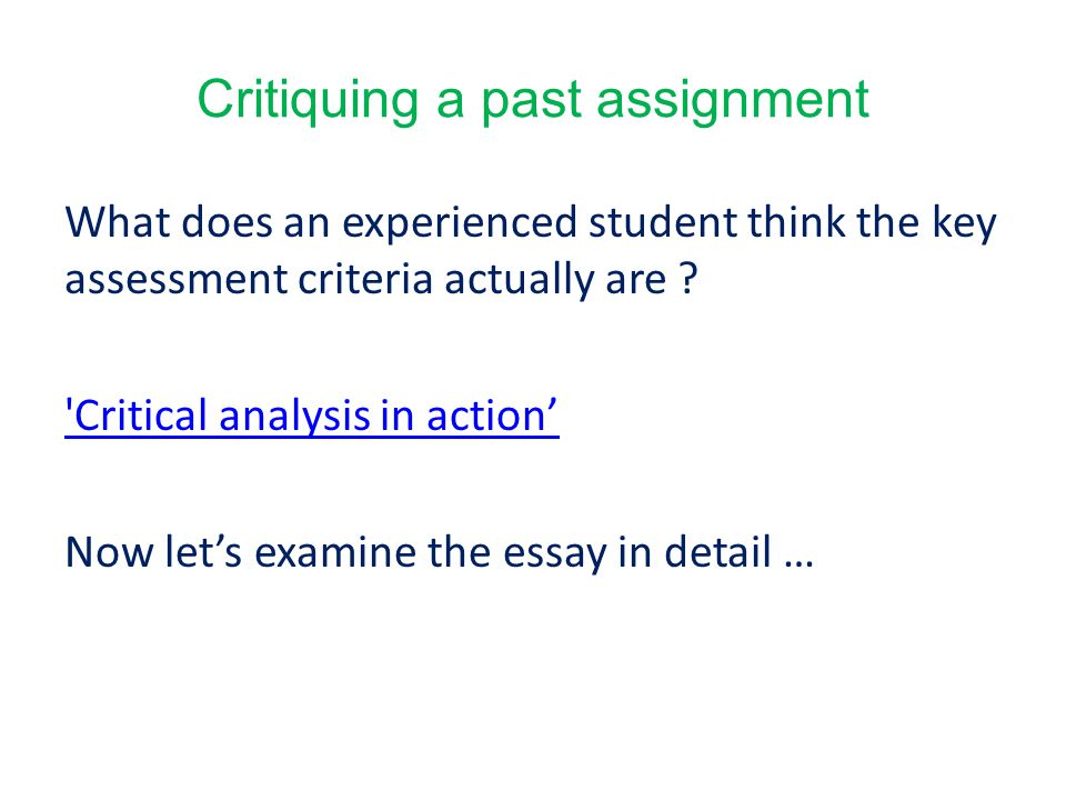 Critiquing a past assignment