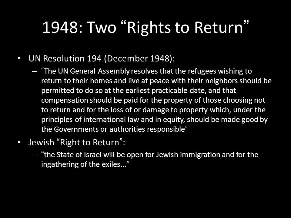 1948: Two Rights to Return