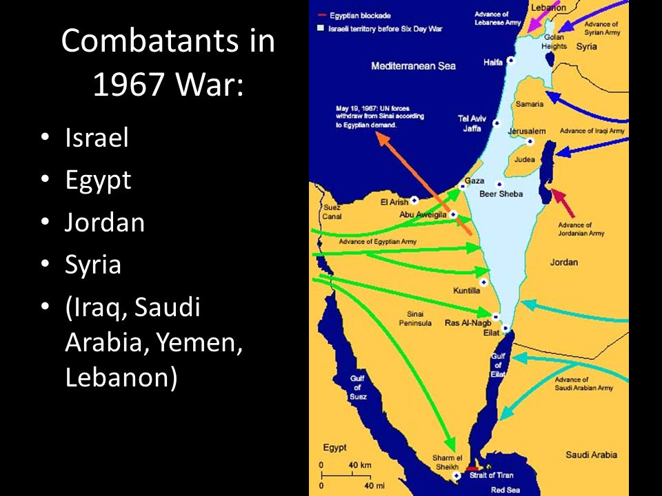 Combatants in 1967 War: Israel Egypt Jordan Syria