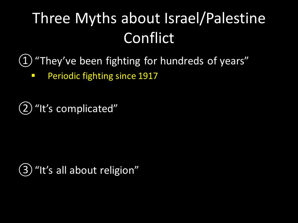 Three Myths about Israel/Palestine Conflict