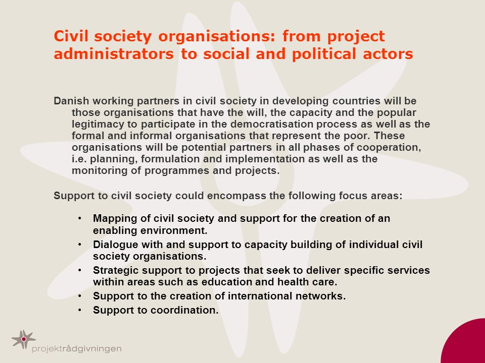 Civil society organisations: from project administrators to social and political actors